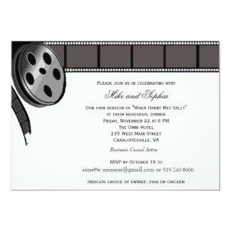 Bobine de film dans l'invitation noire et blanche carton d'invitation  12,7 cm x 17,78 cm