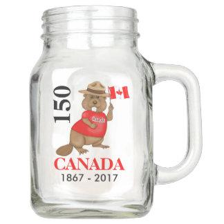 Bocal Mason Anniversaire fièrement canadien du castor 150