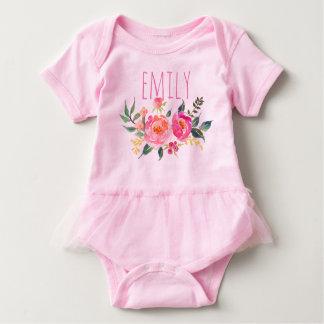 Body Aquarelle nommée personnalisée Floral-7 de bébé