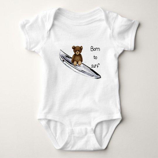 """Body bébé blanc """"Born to surf"""" avec nounours"""