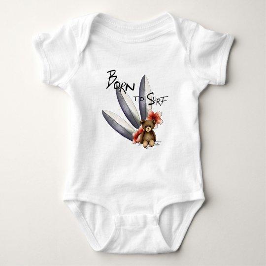 """Body bébé blanc """"Born to surf"""", nounours et fleurs"""