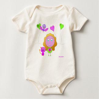 Body bébé fille chat coeur rose vert unique cadeau