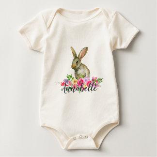 Body Bébé floral Monog d'aquarelle de lapin de région