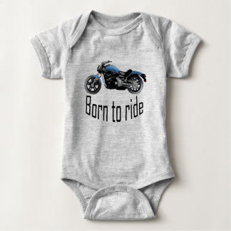 "Body bébé gris ""Born to ride"", moto bleue"