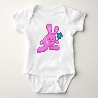 Body blanc bébé - Lapin Rose