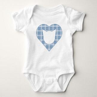 Body Chat de plaid/combinaison bleu-clair de coeur