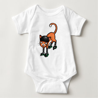 Body Chat tigré orange sur des rollerskates