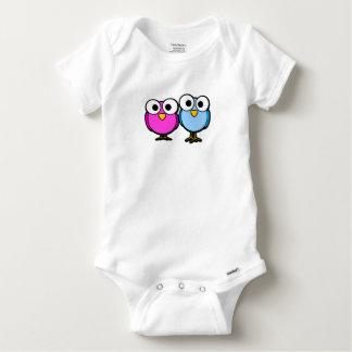 Body Chemise rose et bleue mignonne de bébé d'oiseaux