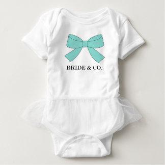 Body Combinaison bleue turquoise de tutu de bébé d'arc