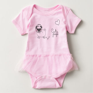 Body combinaison rose mignonne de bébé avec le carlin