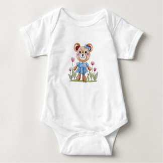 Body Cute little bear in watercolor.