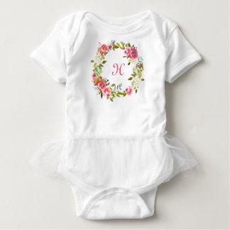 Body Guirlande florale de rose de tutu initial de bébé