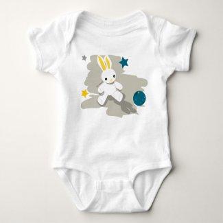 Body joli doudou lapin blanc et son ballon