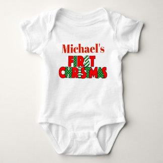 Body Noël rouge et vert de bébé premier