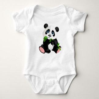 Body Ours panda noir et blanc mangeant le bambou vert