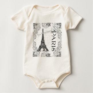 Body Tour Eiffel en noir et blanc