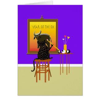 Boeuf 2009 de peinture de chat carte de vœux