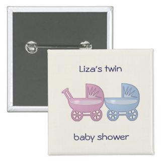 boguet de bébé rose et bleu badge carré 5 cm