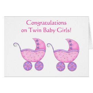 Boguet jumeau de rose de bébés de félicitations cartes