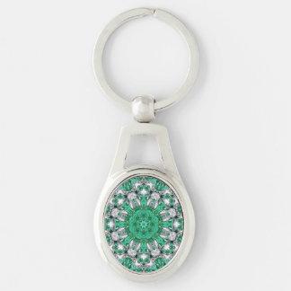 bohémien girly de motif de vert vert de broderie porte-clefs
