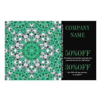 bohémien vintage de motif de vert vert prospectus 14 cm x 21,6 cm