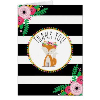 Boho barre le Merci de baby shower de Fox Cartes