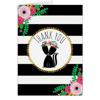 Boho barre le Merci de baby shower de mouffette Cartes