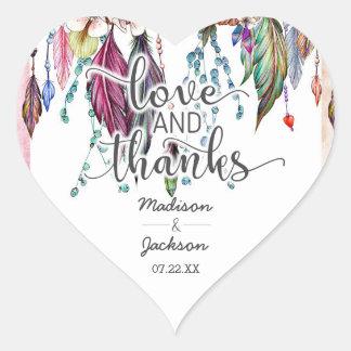 Boho Dreamcatcher et faveur d'amour et de mercis Sticker Cœur