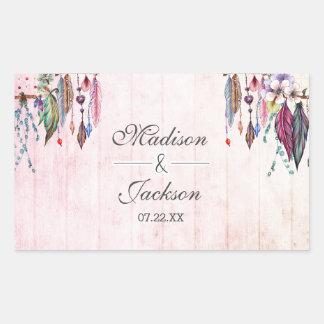 Boho Dreamcatcher et monogramme rose de mariage de Sticker Rectangulaire