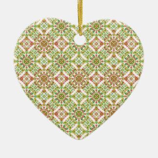 Boho floral stylisé coloré ornement cœur en céramique