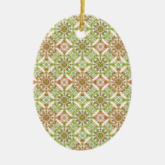 Boho floral stylisé coloré ornement ovale en céramique
