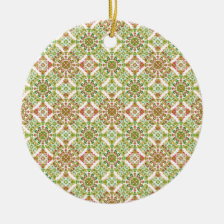 Boho floral stylisé coloré ornement rond en céramique