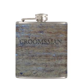 Bois affligé par mariage rustique | Groomsman Flasques