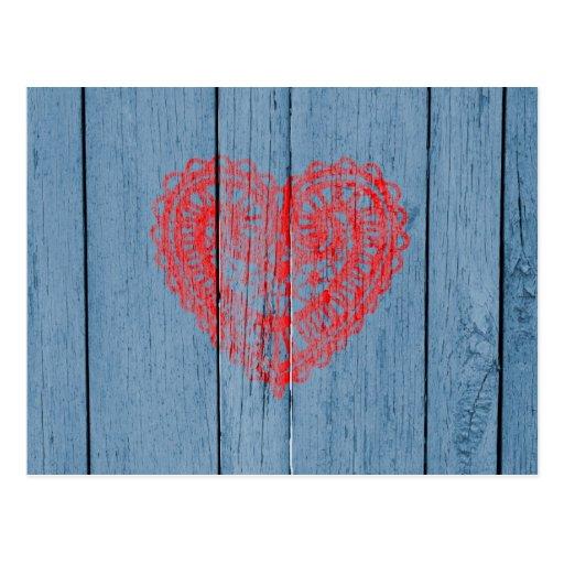 Bois bleu vintage et coeur rouge de dentelle cartes postales
