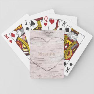 Bois d'arbre de bouleau et pays rustique de coeur jeux de cartes