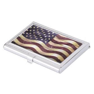 Bois de cru de drapeau américain étui pour cartes de visite