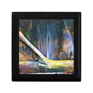 Bois de flottage artistique vibrant par la cascade petite boîte à bijoux carrée