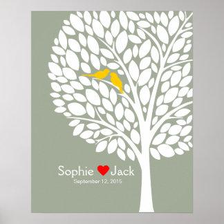 bois de jaune d'arbre de livre d'invité de mariage posters