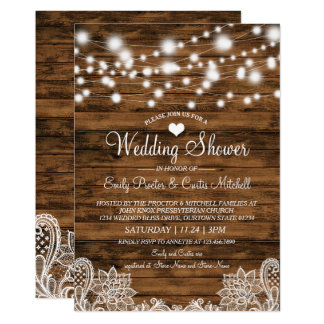 Bois de lumières et invitation de wedding shower