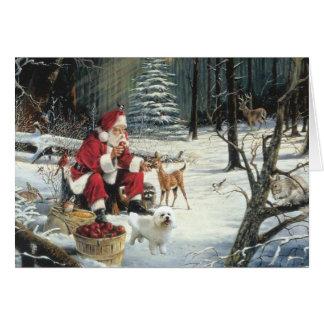 Bois de Père Noël de carte de Noël de Bichon Frise