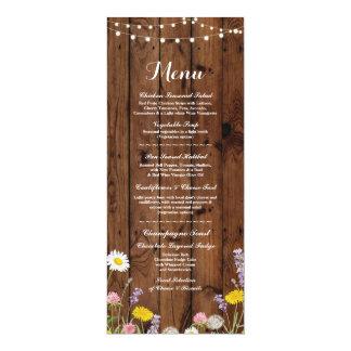 Bois de réception de mariage de menu de fleurs carton d'invitation  10,16 cm x 23,49 cm