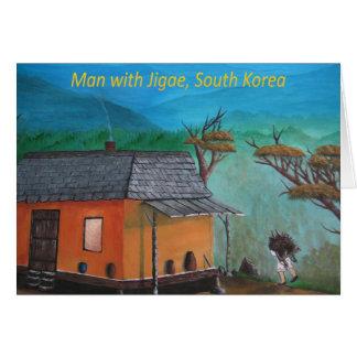 Bois de transport d'homme coréen (Jigae) Carte De Vœux