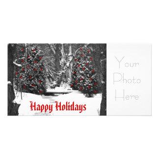 bois d'hiver noirs et blancs, bonnes fêtes, Y… Cartes Avec Photo