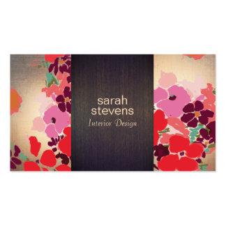 Bois floral coloré et or de dessinateur carte de visite