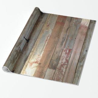 bois primitif de grange de pays occidental de papier cadeau