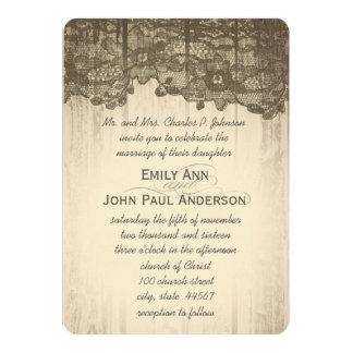 Bois romantique de grange et mariage élégant de carton d'invitation  12,7 cm x 17,78 cm