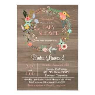 Bois rustique, baby shower chic minable de carton d'invitation  12,7 cm x 17,78 cm