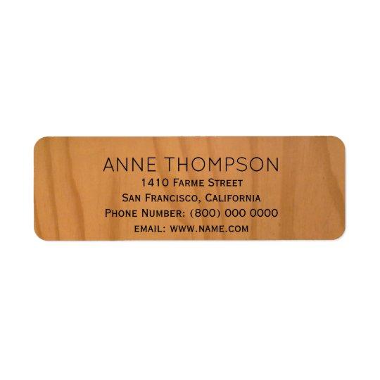 bois rustique de faux avec le nom étiquettes d'adresse retour