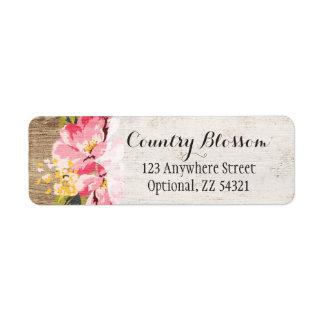 Bois rustique et pays rose peint de fleur de étiquettes d'adresse retour