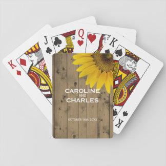 Bois rustique personnalisé de faveur de mariage jeu de cartes